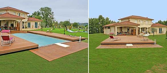Cubierta plana de madera pooldeckcubiertas para piscinas for Cubierta piscina precio