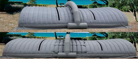 Cubierta hinchable extensible para obras de piscinas